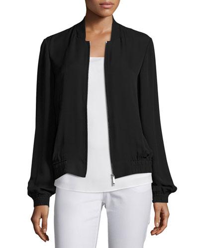 Bryant Silk Crepe Bomber Jacket, Black