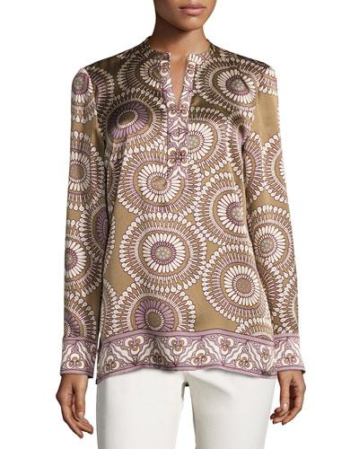 Dunham Long-Sleeve Medallion-Print Silk Blouse, Chai Multi