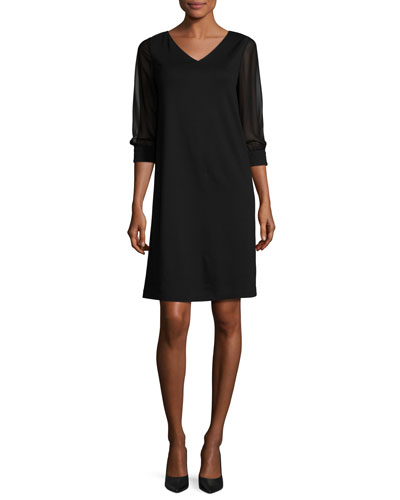 Sheer 3/4-Sleeve V-Neck Punto Milano Dress, Black
