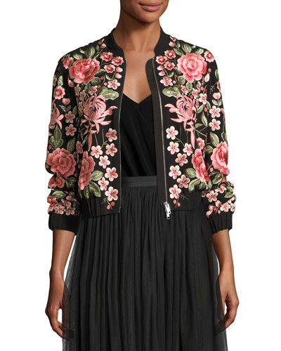 Rose Embroidered Bomber Jacket, Black