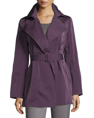 Hadley Short Trench Coat, Dark Purple