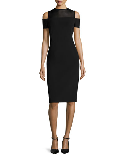 Cold-Shoulder Mesh-Yoke Sheath Dress, Black