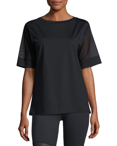 Rutline Mesh-Sleeve Performance Tee, Black