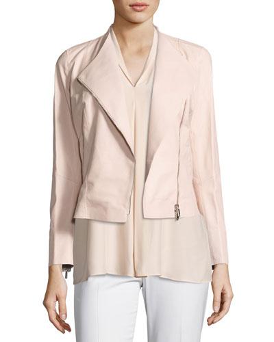 Brianna Embossed Lambskin Moto Jacket, Bright Pink