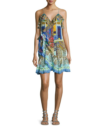 Embellished Crepe Ruffle Wrap Dress, Bohemian Bounty