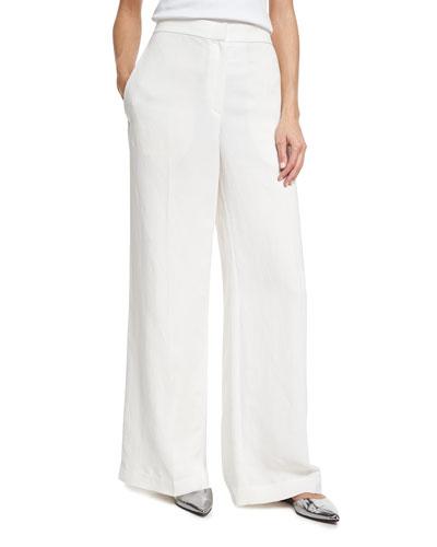 High-Waist Full Wide-Leg Pants, White