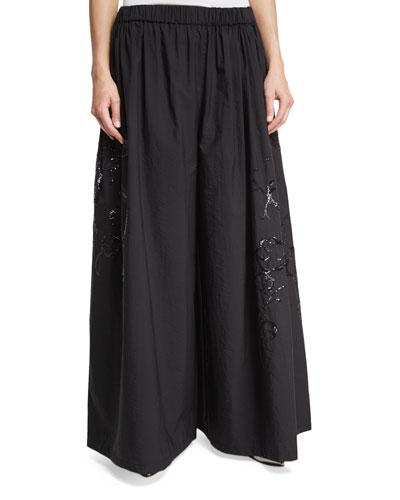 Paillette-Embellished Wide-Leg Pants, Black