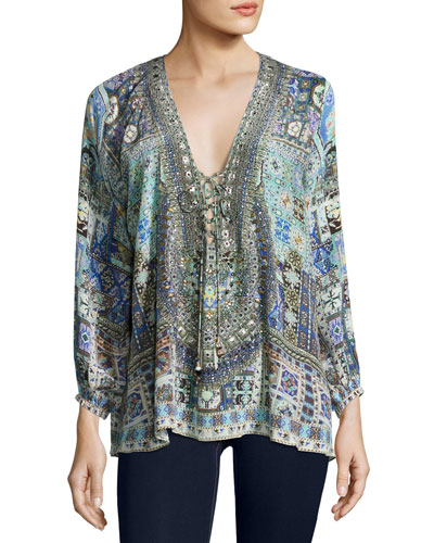 Embellished Lace-Up Silk Top, Kingdom Call