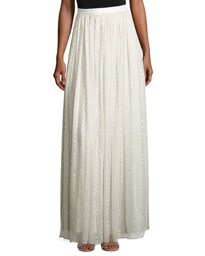 Metallic Clip-Dot Chiffon Maxi Skirt
