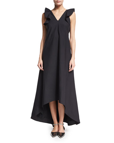 Ruffle-Sleeve High-Low Sateen Maxi Dress, Black