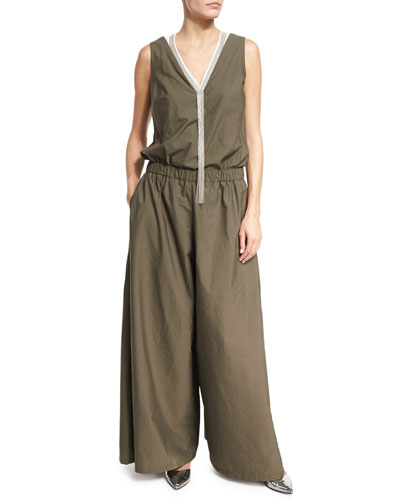 Poplin Wide-Leg Sleeveless Jumpsuit, Olive
