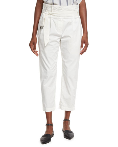 Belted Paperbag-Waist Ankle Pants, White