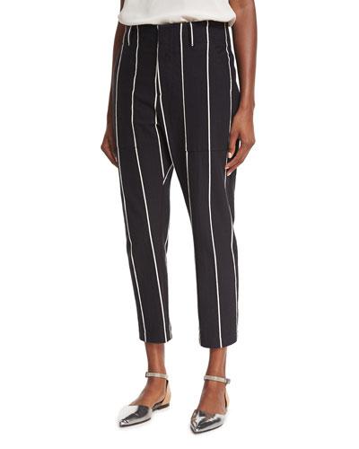 Pinstripe Straight-Leg Ankle Pants, Black/Ecru