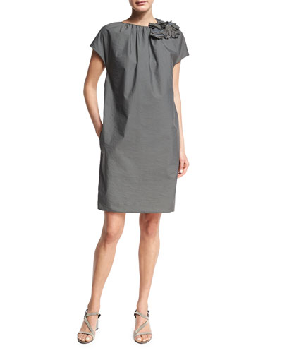 Cap-Sleeve Shift Dress w/Floral Applique, Gray