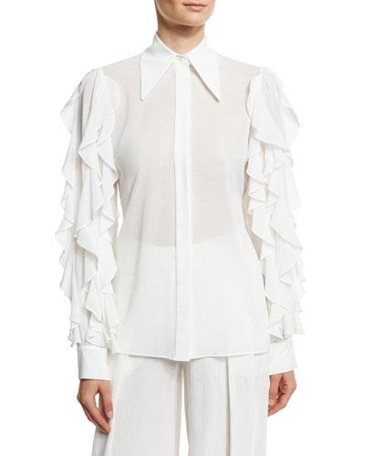 Ruffled-Sleeve Cotton Blouse, White