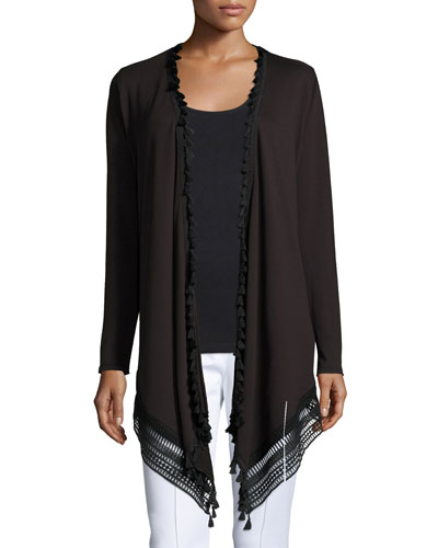 Roseanna Long Lace-Hem Open Cardigan, Black