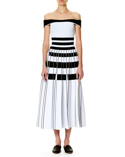 Striped Off-the-Shoulder Midi Dress, White/Black