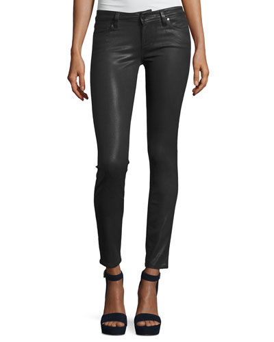 Verdugo Coated Ultra-Skinny Jeans, Charcoal