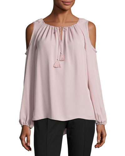 Cathy Cold-Shoulder Silk Blouse, Pink