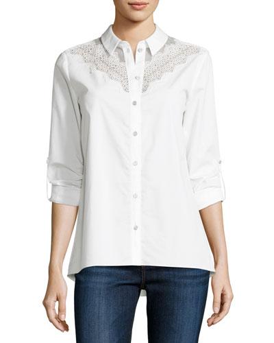 Cher Crocheted-Yoke Button-Front Blouse, White