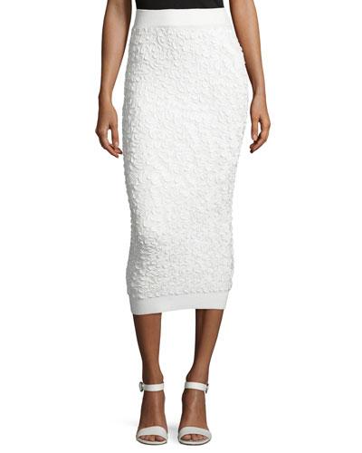 Soutache-Embroidered Midi Skirt, White