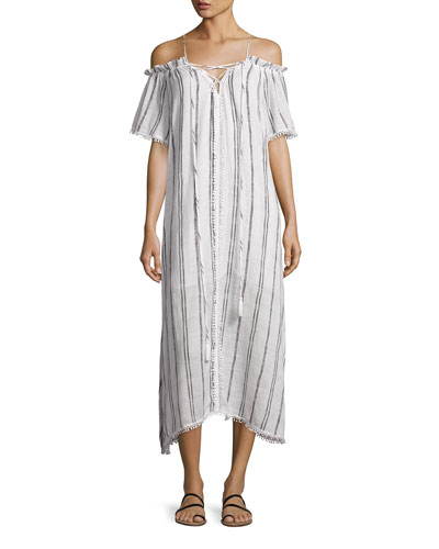 Isla Off-the-Shoulder Striped Coverup Maxi Dress