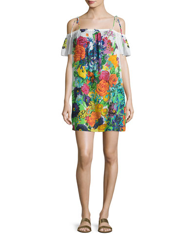 Eden Floral-Print Off-the-Shoulder Coverup Dress