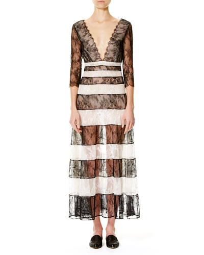 Striped Lace 3/4-Sleeve Gown, Black/White