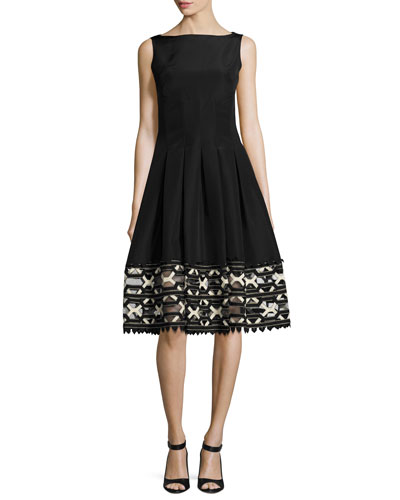 Ribbon-Embroidered Sleeveless Boat-Neck Dress, Black/Ivory