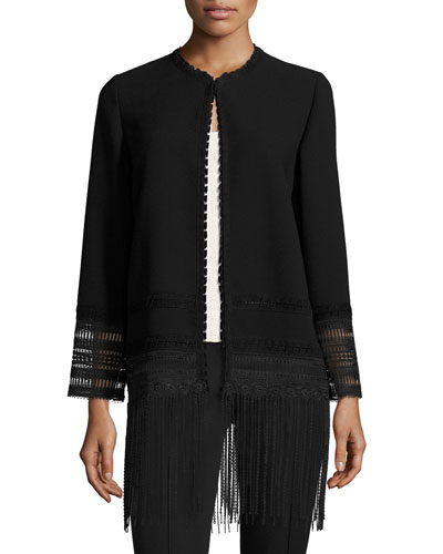 Pearl Crochet-Trim Fringe-Hem Topper Coat, Black