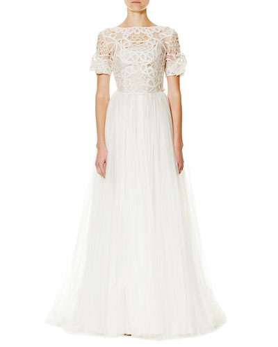Soutache-Embroidered Tulle A-Line Gown, Ivory