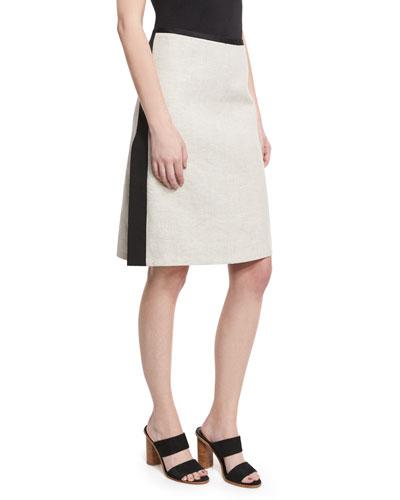 Striped Slit A-Line Skirt, Black