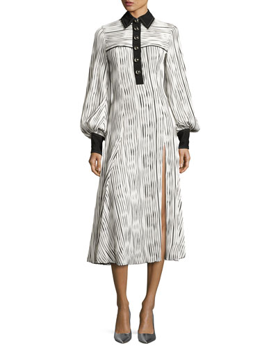 Striped Button-Front Long-Sleeve Maxi Dress, White/Black