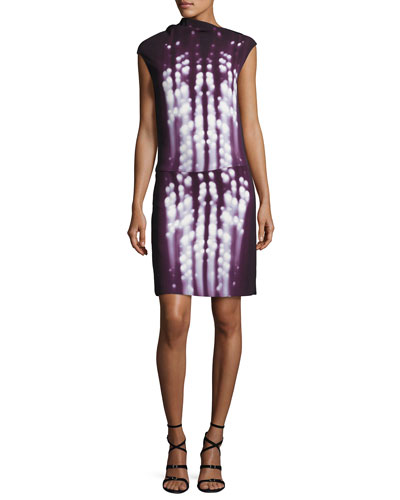 Dot-Print Sleeveless Drape-Neck Dress, Plum