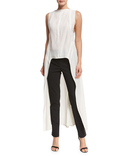 Sleeveless Boat-Neck High-Low Top, White