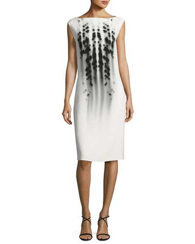 Dot-Print Cap-Sleeve Boat-Neck Dress, White/Black