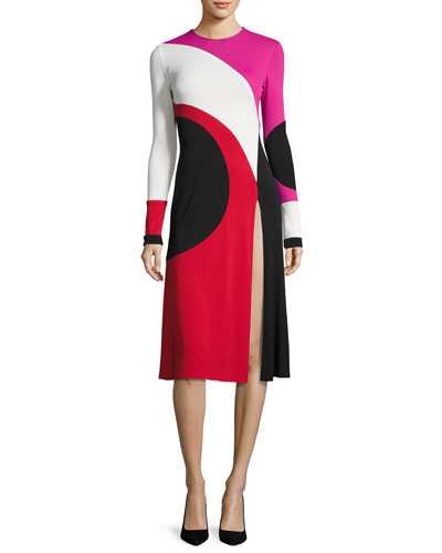 Colorblock Front-Slit Long-Sleeve Dress, Multi Pattern