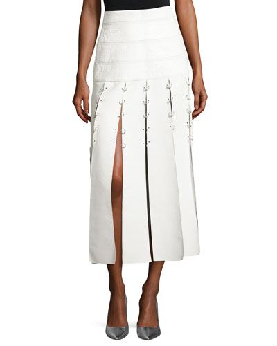 Leather Pierced Slit Midi Skirt, White