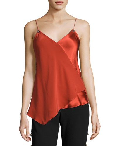 Scoop-Neck Silk Camisole, Brick