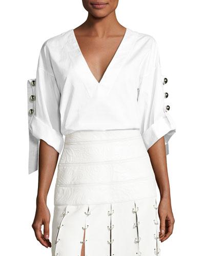 Deep-V Button-Sleeve Tunic, White