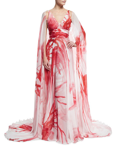 Printed Chiffon V-Neck Cape Gown, Ivory/Coral