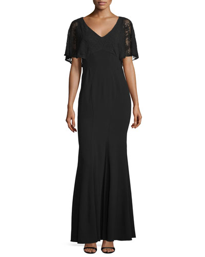 Grace Lace-Bodice Mermaid Gown, Black