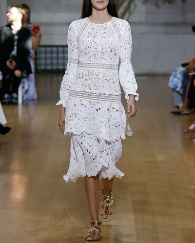 Lace Long-Sleeve Tiered-Skirt Dress, White