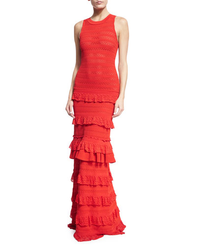 Sleeveless Ruffled Tiered Knit Gown, Cayenne