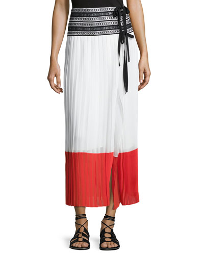 Pleated Side-Slit Wrap Skirt, White/Cayenne