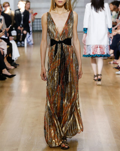 Pleated Floral V-Neck Sleeveless Gown, Multi Gold
