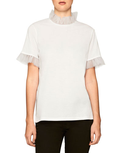 Tee with Ruffled Trim