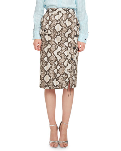 Curry Python-Print Pencil Skirt, Natural