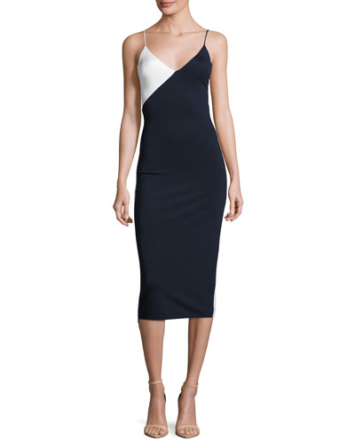 Colorblock Sleeveless V-Neck Dress, White/Multi