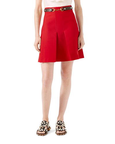 Wool Silk Skirt, Hibiscus Red